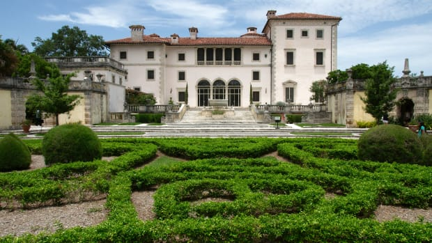 View of the Vizcaya Museum and Gardens, the former villa and estate of businessman James Deering, located in Coconut Grove., Miami, Florida, USA