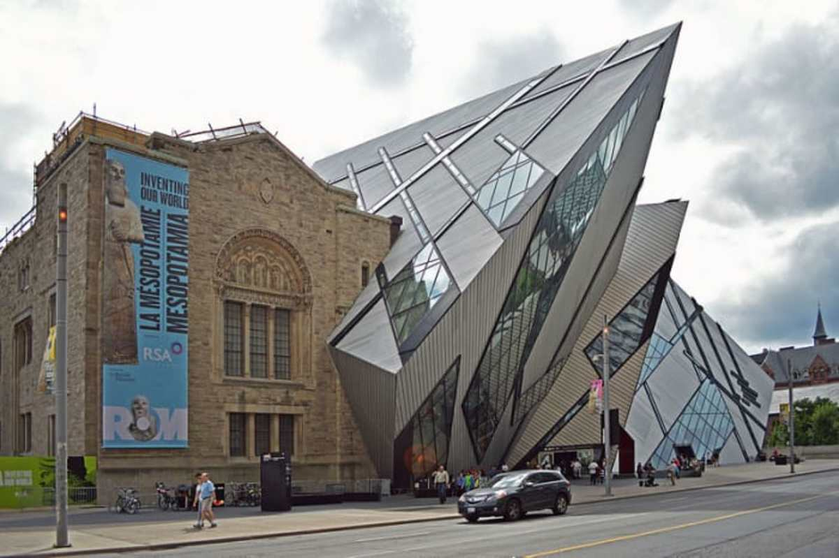 "The Royal Ontario Museum in Toronto: ""The new addition on the right is very strong on excitement and stimulation, elements of the autonomic nervous system's sympathetic inputs. The original museum building's architecture draws on parasympathetic forms, a quieter, more comforting approach."" --Beauty, Neuroscience and Architecture"