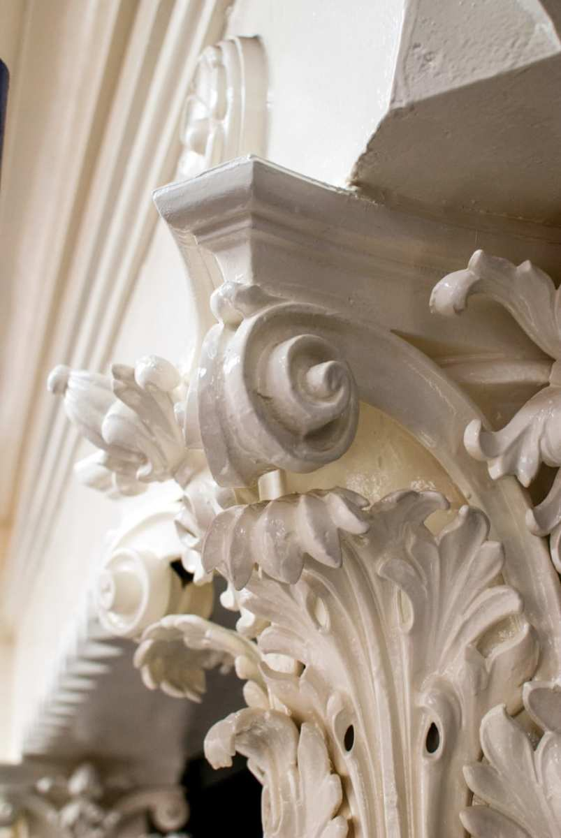 The Corinthian capitals, one of the building's defining features, were taken apart piece by piece. Their bell housings were remade. (Photo: Adelaide Palum, PBDW Architects)