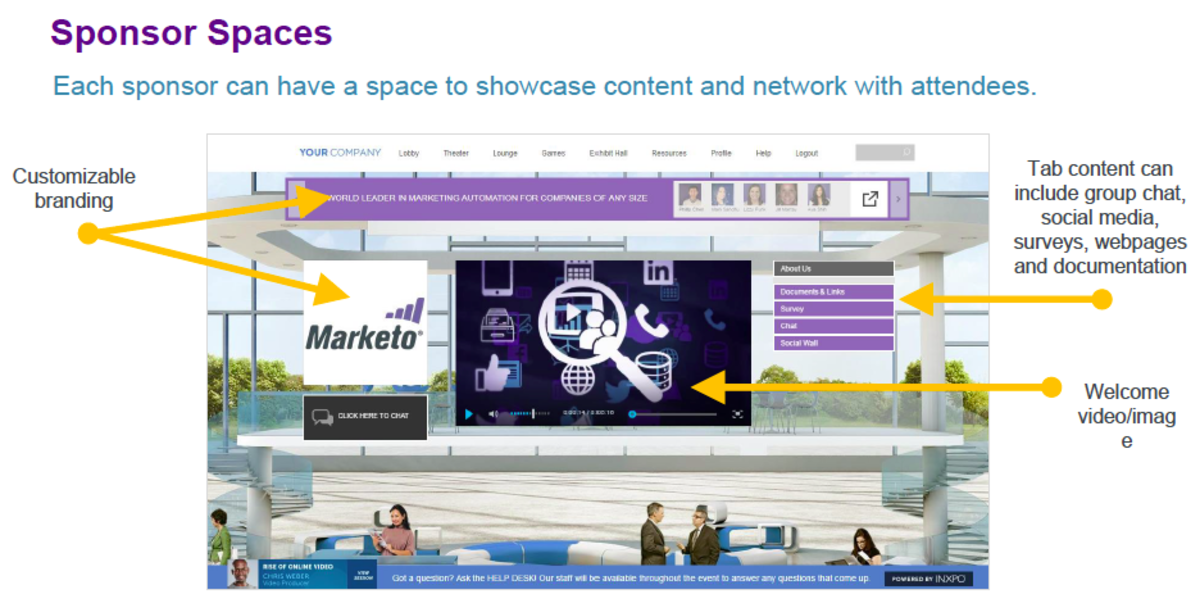 An example of a Sponsor Exhibit Booth is shown above. Note the branding features, interactive modules and prominent navigation options.