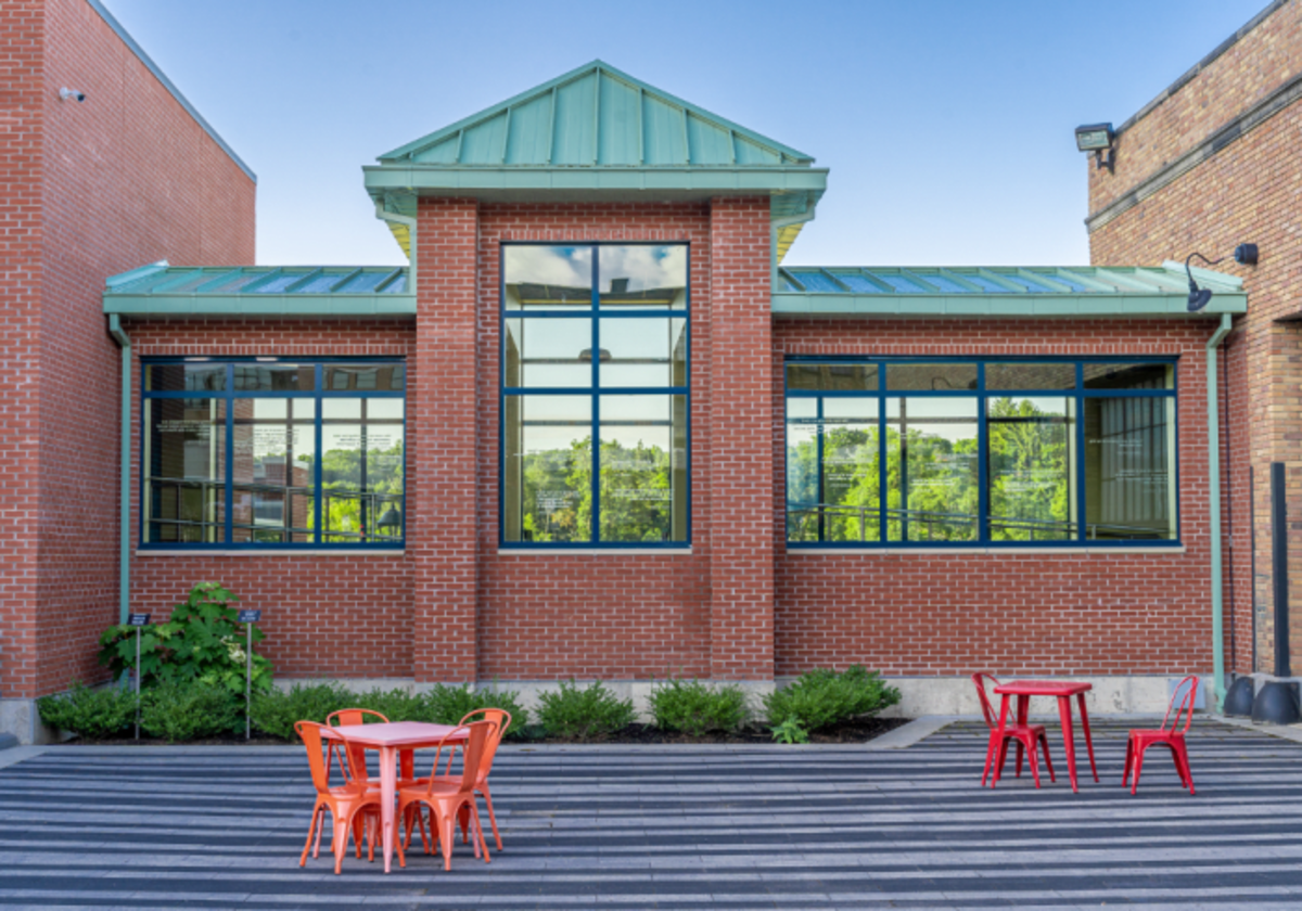 Hope's steel windows installed in the newly constructed connector wing were designed to match the existing historic steel windows in the train station's front façade. Chautauqua 360 Photography